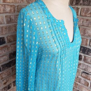 Lilly Pulitzer Colby Silk Metallic Tunic Top Blue